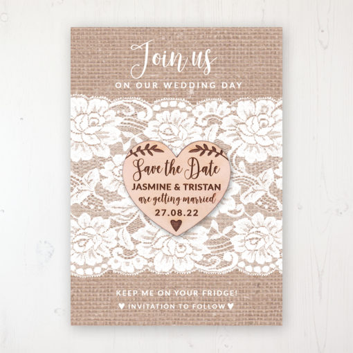 Chantilly Lace Backing Card with Wooden Save the Date Heart Magnet