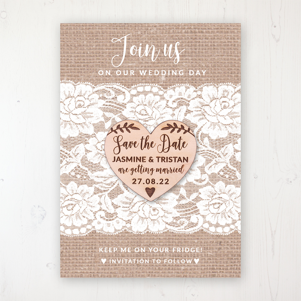 Chantilly Lace Personalised Save the Dates Round Wooden Magnets Save the Date Magnet with Card /& Envelope