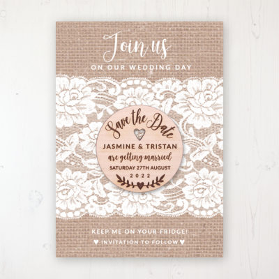 Chantilly Lace Backing Card with Wooden Save the Date Round Magnet