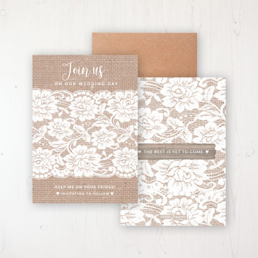 Chantilly Lace Save the Date Backing Card Front & Back with Kraft Envelope