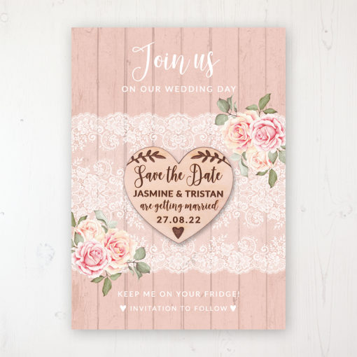 Coral Haze Backing Card with Wooden Save the Date Heart Magnet