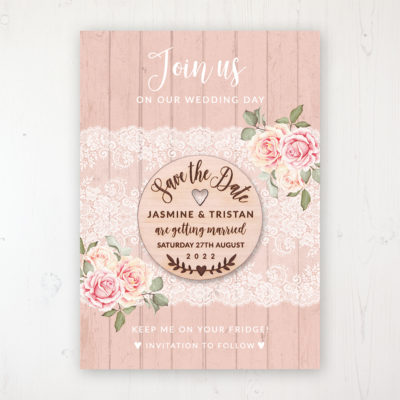 Coral Haze Backing Card with Wooden Save the Date Round Magnet