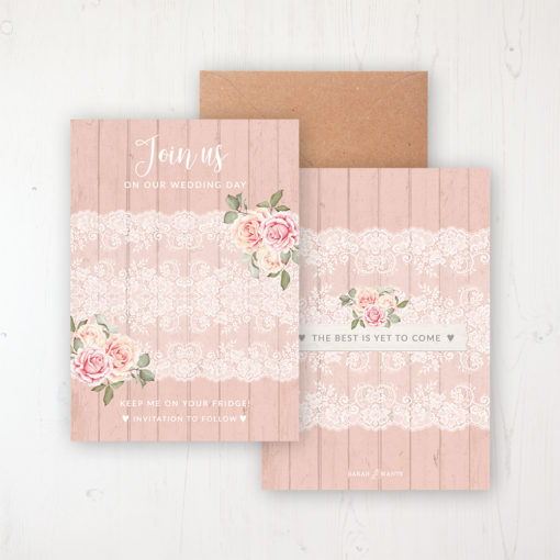Coral Haze Save the Date Backing Card Front & Back with Kraft Envelope