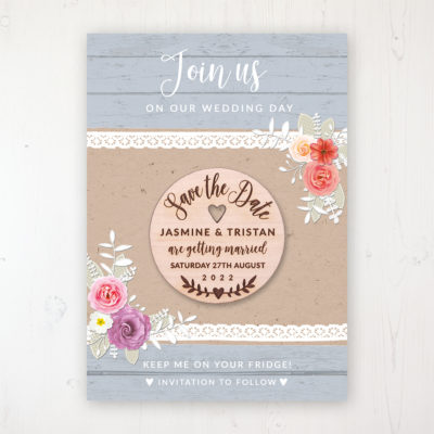 Cornflower Meadow Backing Card with Wooden Save the Date Round Magnet