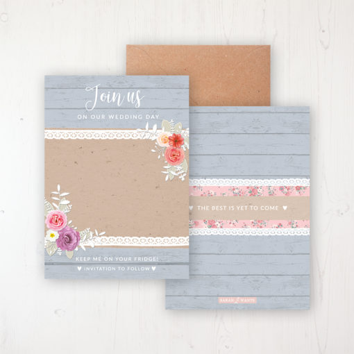 Cornflower Meadow Save the Date Backing Card Front & Back with Kraft Envelope
