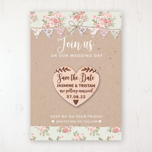 Country Wedding Backing Card with Wooden Save the Date Heart Magnet