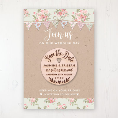 Country Wedding Backing Card with Wooden Save the Date Round Magnet