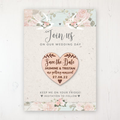 Dancing Swallows Backing Card with Wooden Save the Date Heart Magnet