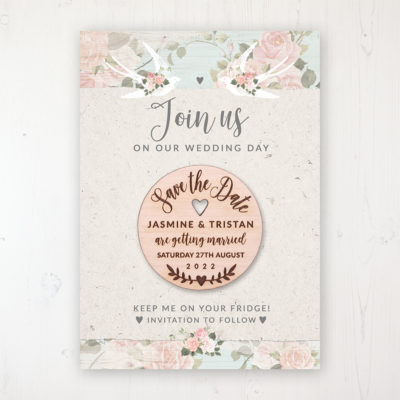 Dancing Swallows Backing Card with Wooden Save the Date Round Magnet
