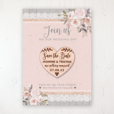 Delicate Mist Backing Card with Wooden Save the Date Heart Magnet