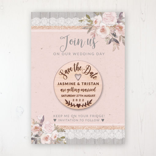 Delicate Mist Backing Card with Wooden Save the Date Round Magnet