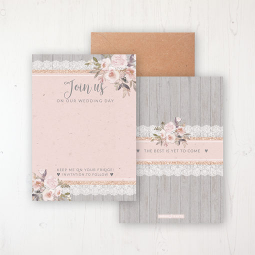Delicate Mist Save the Date Backing Card Front & Back with Kraft Envelope