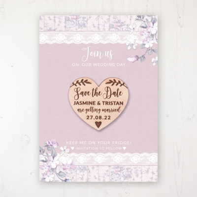 Dusky Dream Backing Card with Wooden Save the Date Heart Magnet
