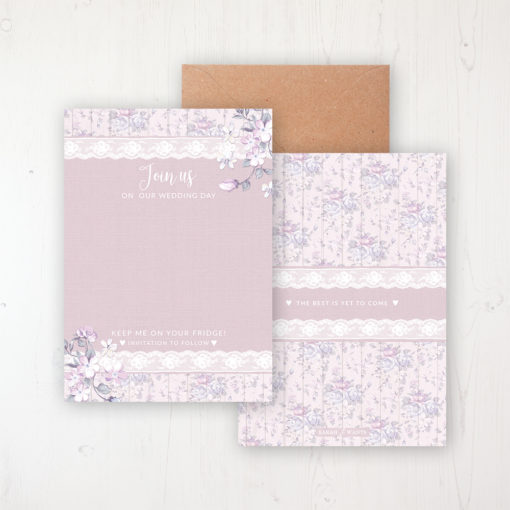 Dusky Dream Save the Date Backing Card Front & Back with Kraft Envelope