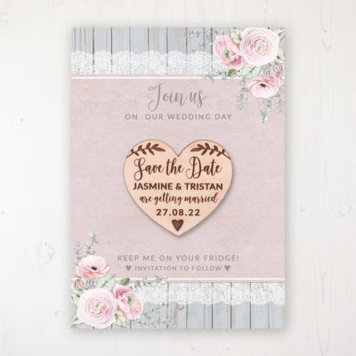 Dusty Flourish Backing Card with Wooden Save the Date Heart Magnet