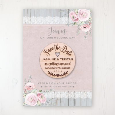 Dusty Flourish Backing Card with Wooden Save the Date Round Magnet