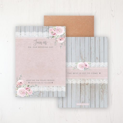 Dusty Flourish Save the Date Backing Card Front & Back with Kraft Envelope