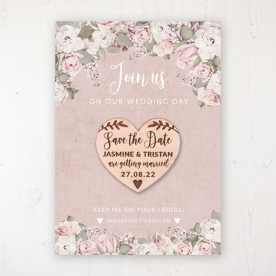 Dusty Rose Garden Backing Card with Wooden Save the Date Heart Magnet