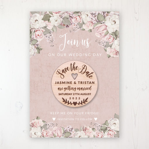 Dusty Rose Garden Backing Card with Wooden Save the Date Round Magnet