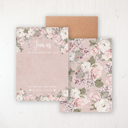 Dusty Rose Garden Save the Date Backing Card Front & Back with Kraft Envelope