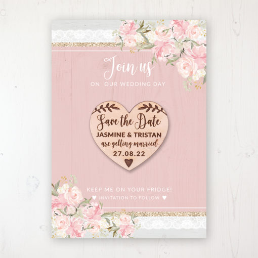 Enchanted Garden Backing Card with Wooden Save the Date Heart Magnet