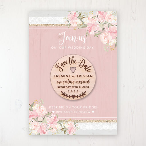 Enchanted Garden Backing Card with Wooden Save the Date Round Magnet