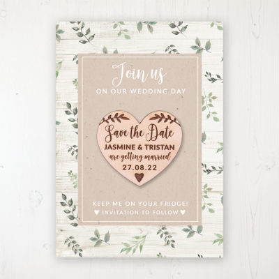 Evergreen Forest Backing Card with Wooden Save the Date Heart Magnet