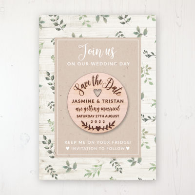 Evergreen Forest Backing Card with Wooden Save the Date Round Magnet