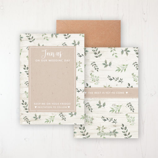 Evergreen Forest Save the Date Backing Card Front & Back with Kraft Envelope