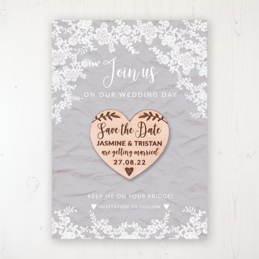 Floraison Lace Backing Card with Wooden Save the Date Heart Magnet