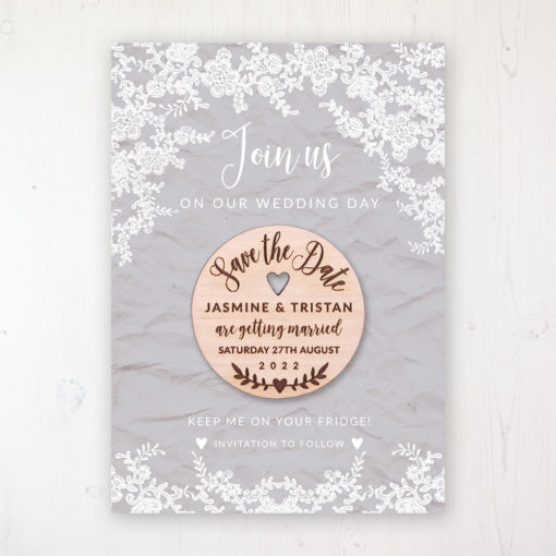Floraison Lace Backing Card with Wooden Save the Date Round Magnet