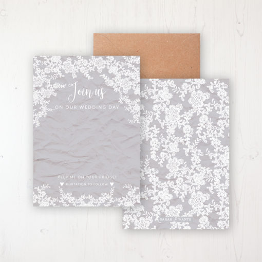 Floraison Lace Save the Date Backing Card Front & Back with Kraft Envelope