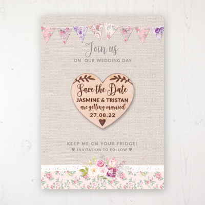 Floral Blooms Backing Card with Wooden Save the Date Heart Magnet