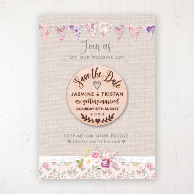 Floral Blooms Backing Card with Wooden Save the Date Round Magnet
