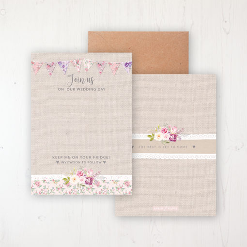 Floral Blooms Save the Date Backing Card Front & Back with Kraft Envelope