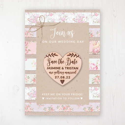 Floral Furrows Backing Card with Wooden Save the Date Heart Magnet