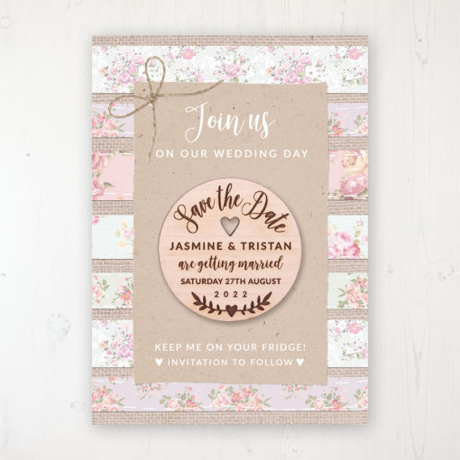 Floral Furrows Backing Card with Wooden Save the Date Round Magnet