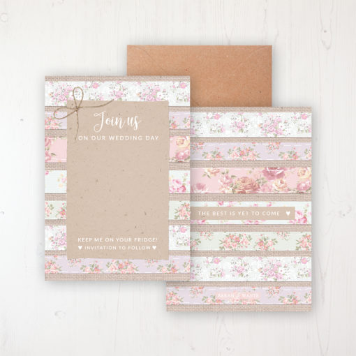 Floral Furrows Save the Date Backing Card Front & Back with Kraft Envelope