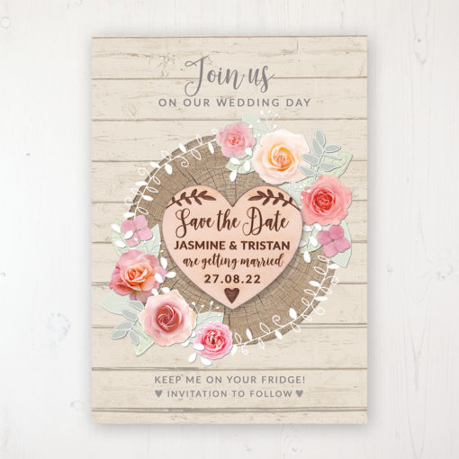 Flower Crown Backing Card with Wooden Save the Date Heart Magnet
