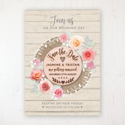 Flower Crown Backing Card with Wooden Save the Date Round Magnet