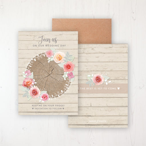 Flower Crown Save the Date Backing Card Front & Back with Kraft Envelope