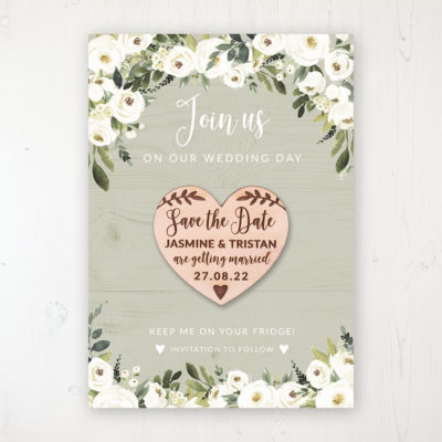 Forrester Green Backing Card with Wooden Save the Date Heart Magnet