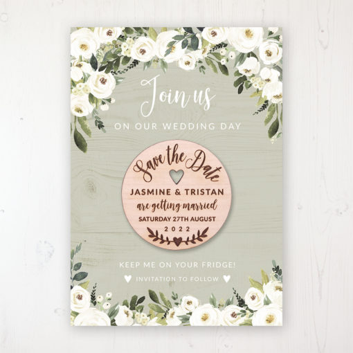 Forrester Green Backing Card with Wooden Save the Date Round Magnet