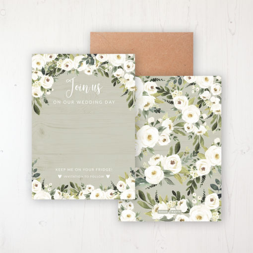 Forrester Green Save the Date Backing Card Front & Back with Kraft Envelope