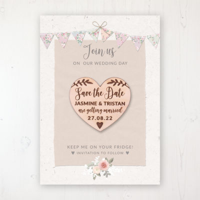Going to the Chapel Backing Card with Wooden Save the Date Heart Magnet