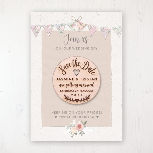 Going to the Chapel Backing Card with Wooden Save the Date Round Magnet