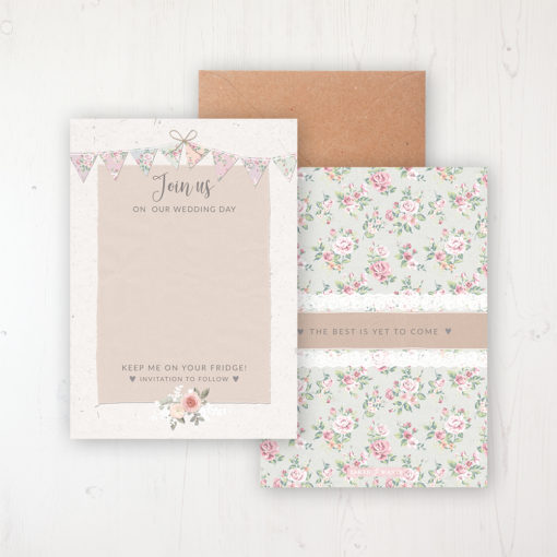 Going to the Chapel Save the Date Backing Card Front & Back with Kraft Envelope