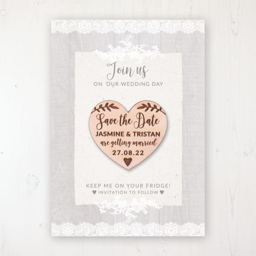 Grey Whisper Backing Card with Wooden Save the Date Heart Magnet