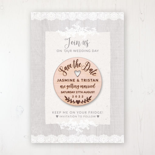 Grey Whisper Backing Card with Wooden Save the Date Round Magnet