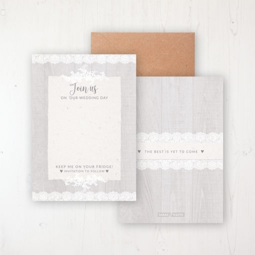 Grey Whisper Save the Date Backing Card Front & Back with Kraft Envelope